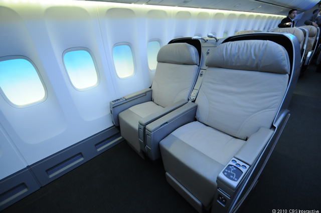 Wider business class seating