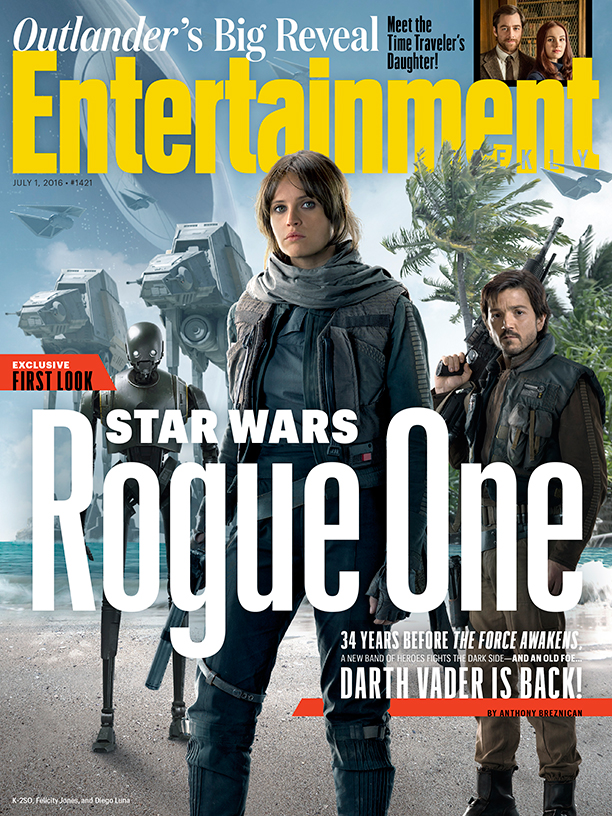 """Entertainment Weekly's latest cover shows some of the """"Rogue One"""" cast, along with a Star Wars robot and killer machines."""