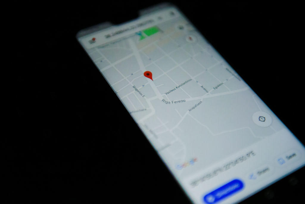 Google maps app is seen on an android mobile phone