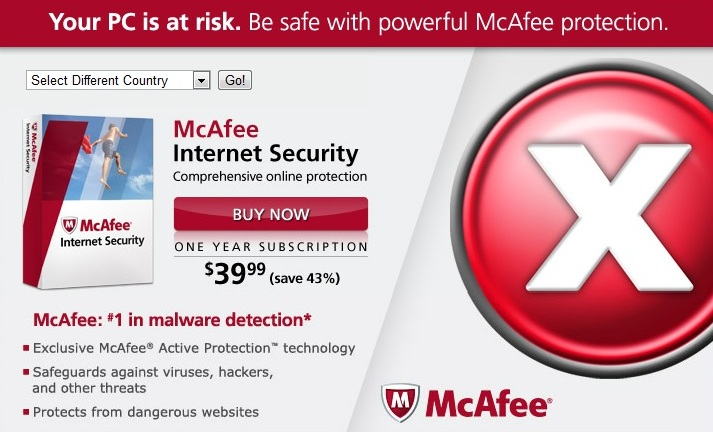 McAfee Internet Security suite marketing page
