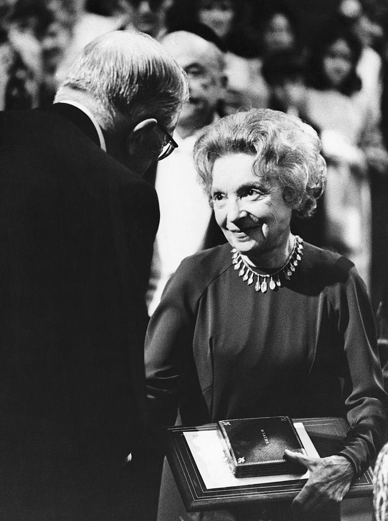 Nelly Sachs accepting the Nobel Prize in literature