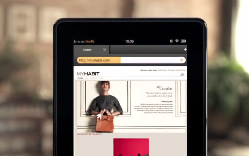Amazon's Silk browser, running on the upcoming Kindle fire.