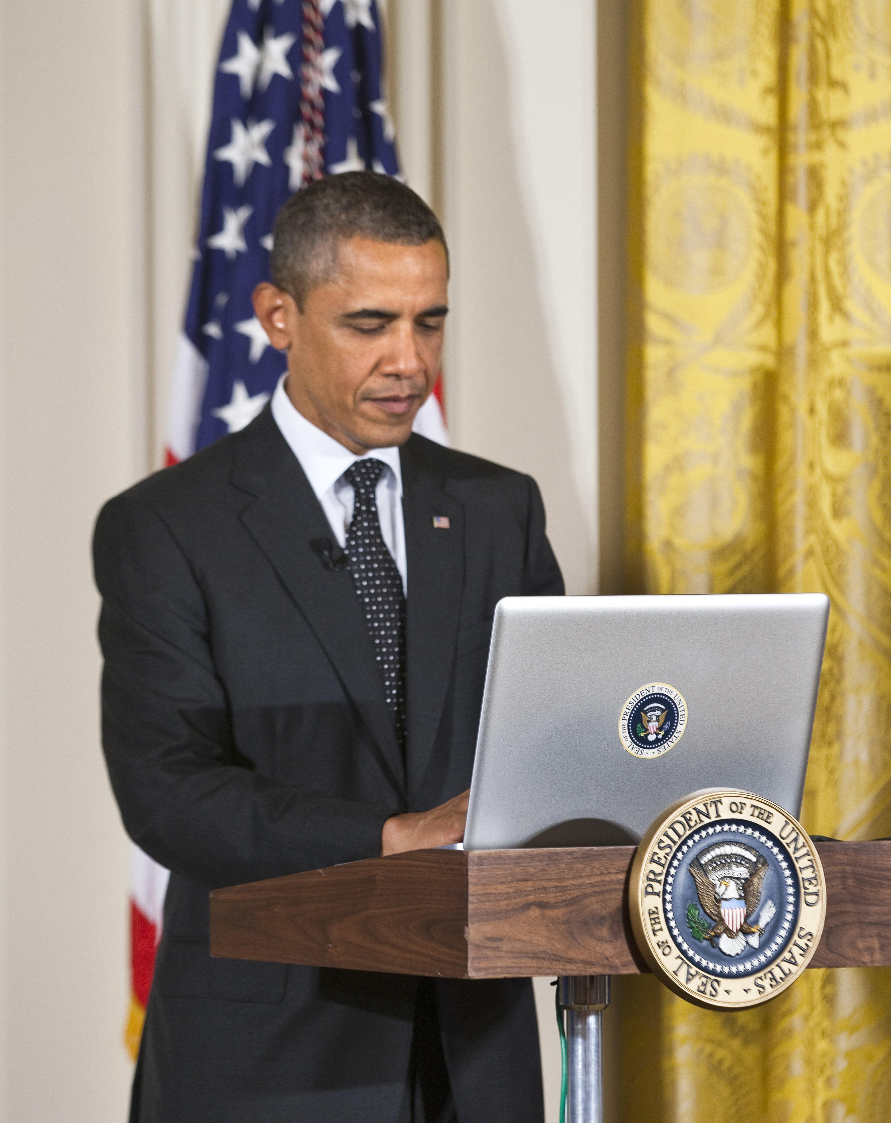 Presdient Obama Participants in a Twitter Town Hall at the White House in Washington