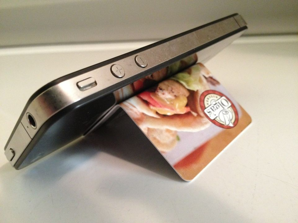Turn any hard-plastic card into a killer smartphone stand with just two strategic folds.