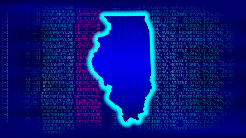 Outline of the state of Illinois on a computer screen showing cybersecurity threats.