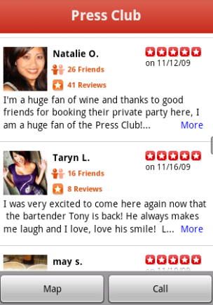 Yelp on Android
