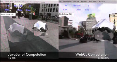 This Samsung WebCL demonstration of a transparent and reflective deformed blobs in a 3D world shows the vastly faster performance of WebCL. It yielded more than 87 frames per second for WebCL vs. 1 or 2 for unaided JavaScript.