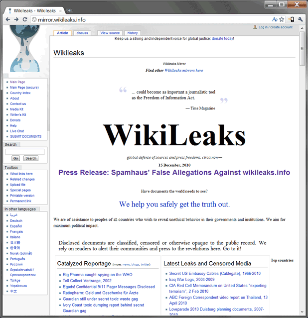 A view of the WikiLeaks.info site today.