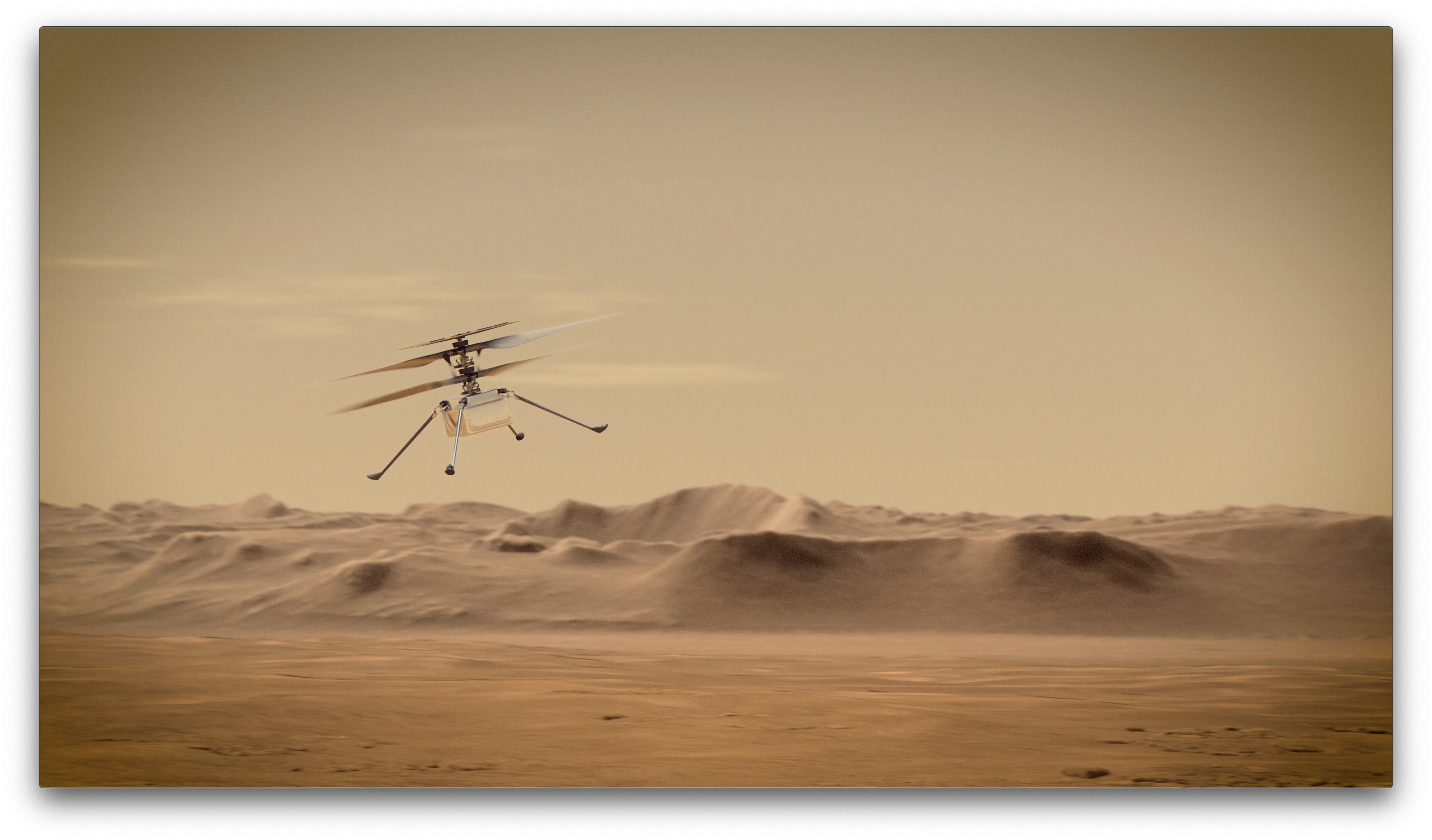 An artist's concept of NASA's Ingenuity Mars helicopter taking flight.