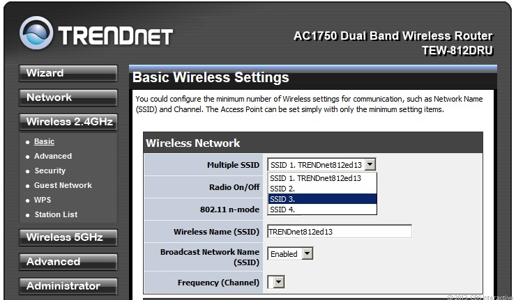 You can create up to 4 main Wi-Fi networks on each of the router's two frequency bands.