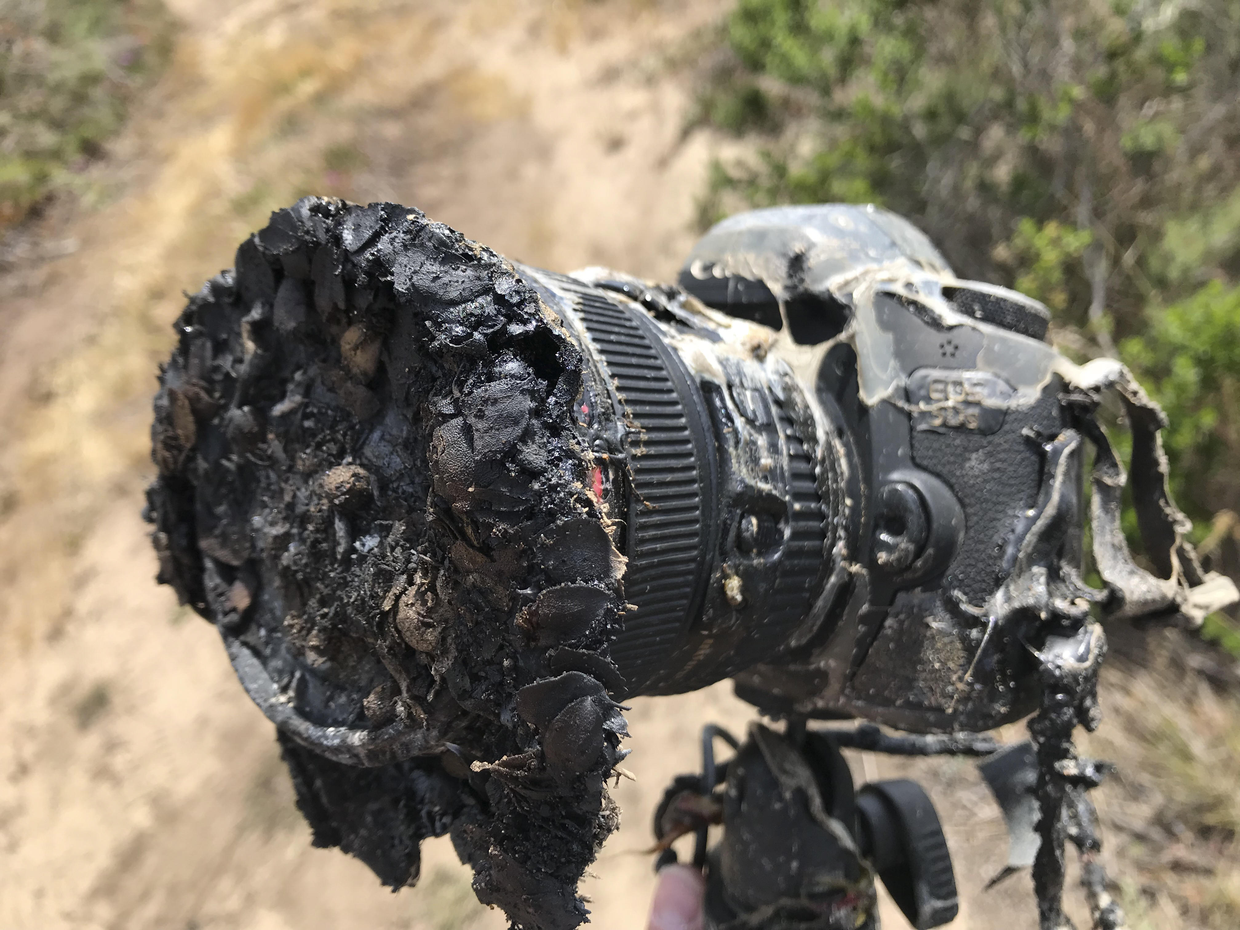 Camera melted by a grass fire that was started by a rocket launch.