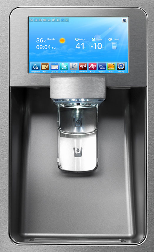 Fridge controls, a recipe finder, and a drink dispenser all in one.