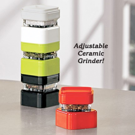 Spices stack for easy storage.