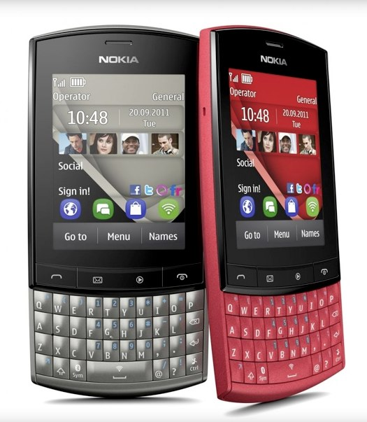 One of Nokia's lower-end devices, the Asha 303.
