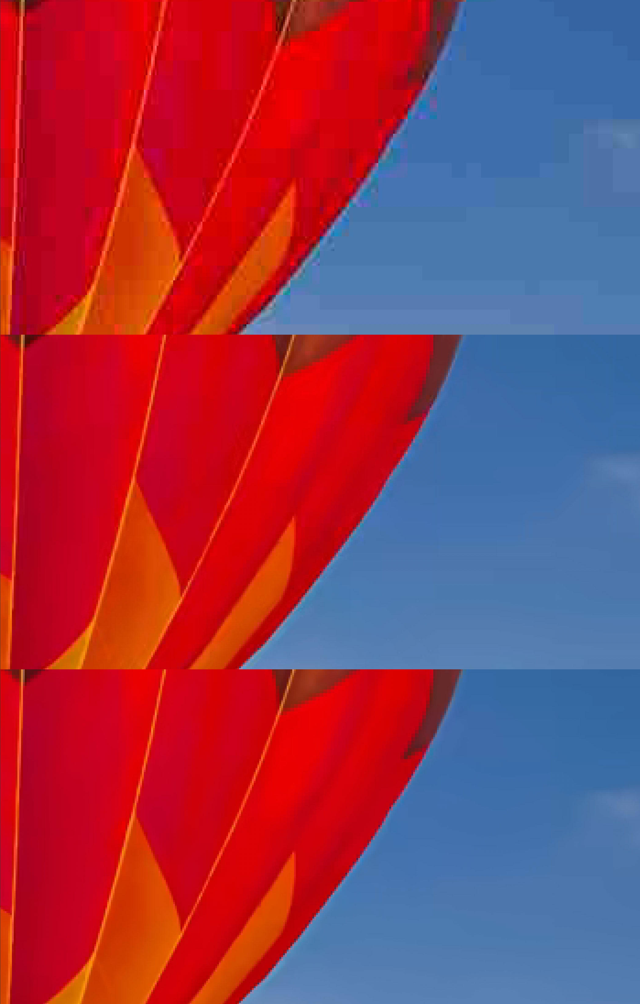This close-up view of the above balloon image, magnified by a factor of 6, shows JPEG's visible problems at top. The technology for Apple's HEIC, center, shows more blotchy artifacts along edges than the compression for the AV1 video technology, bottom.
