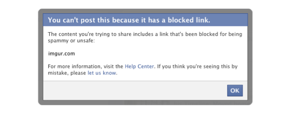 Imgur blocked by Facebook on Monday