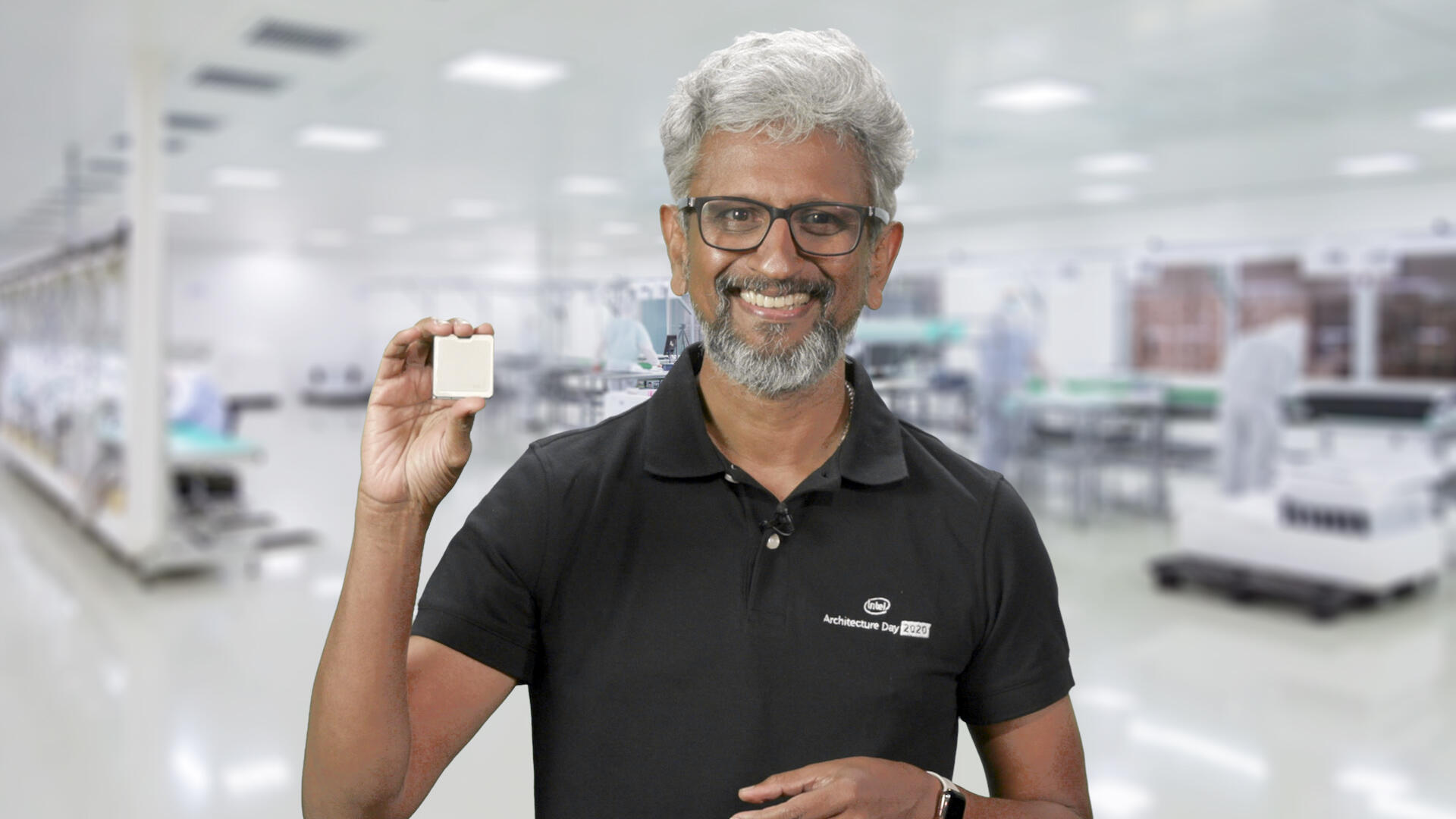 Raja Koduri, Intel's general manager of architecture, graphics and software, shows off a next-generation Xe graphics chip.