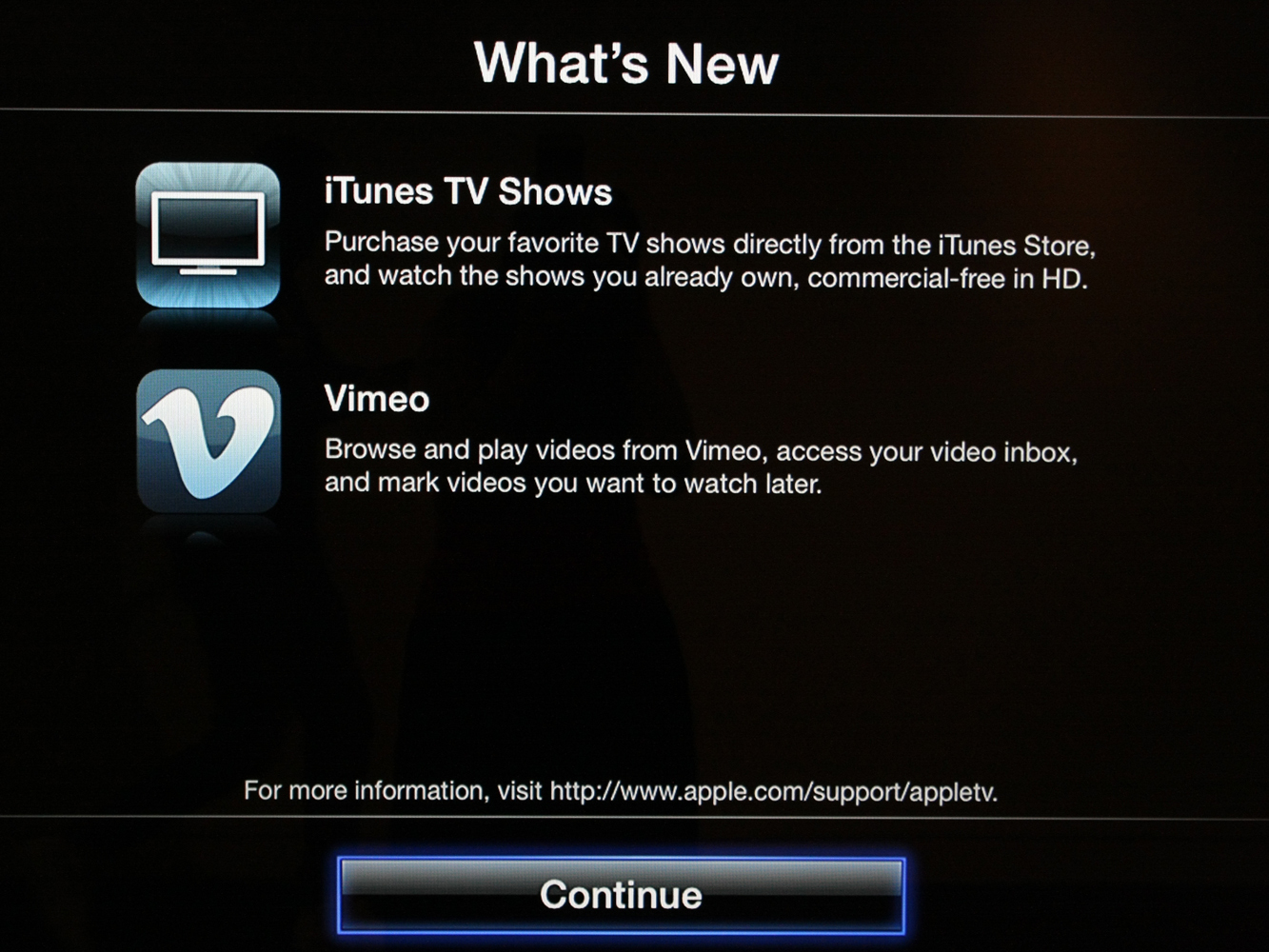 Apple TV's now serving up TV show buying and watching of purchased TV show content as part of a new update.