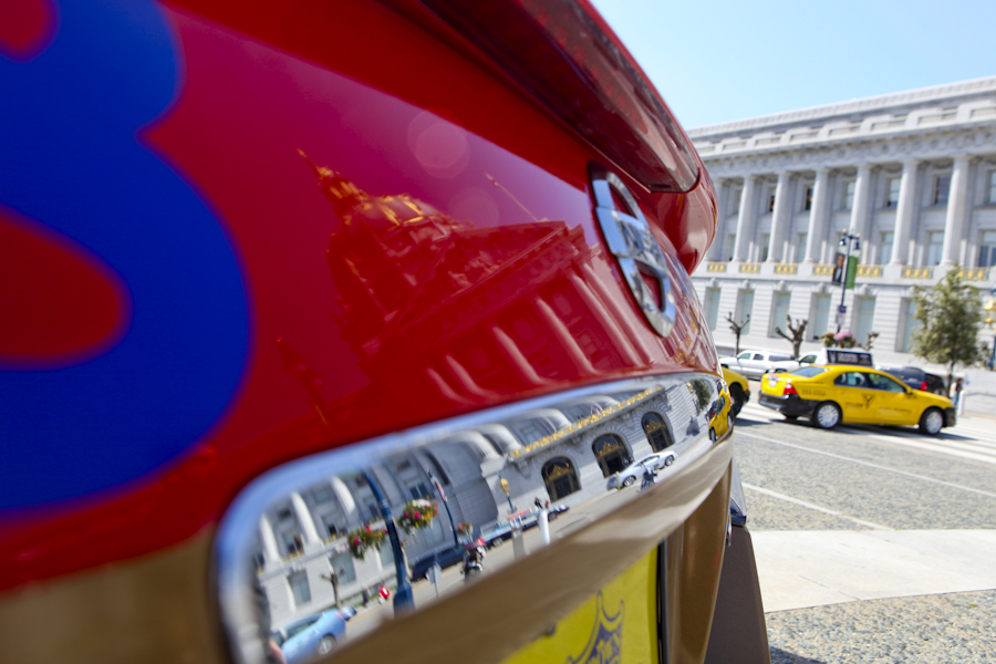 A fleet of hybrid taxis parked in front of San Francisco City Hall Monday