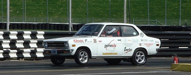 The White Zombie is a 1972 Datsun 1200 converted into an all-electric drag racer.