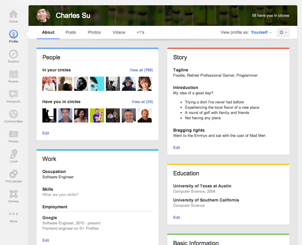 Profile cards in the updated 'About' tab.