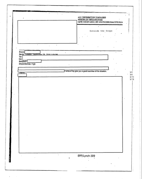 One almost-entirely-redacted document that the FBI turned over. EFF says the deletions are too extreme.