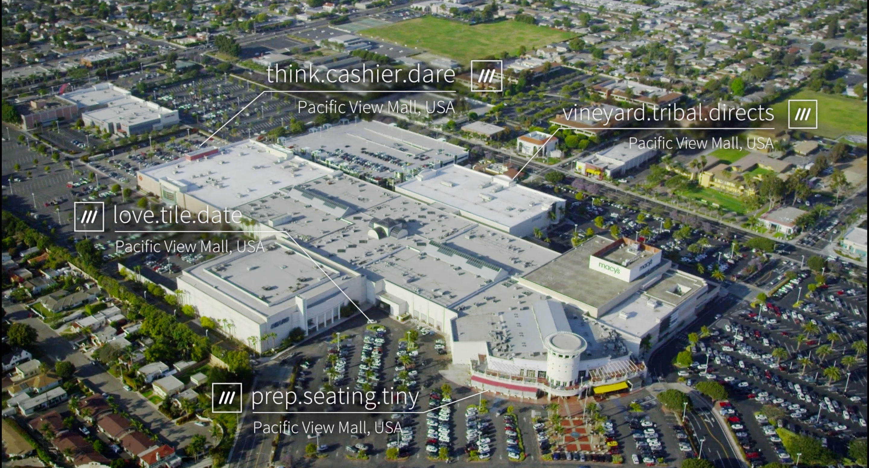 What3words can help you tell your friends which mall entrance to meet at.