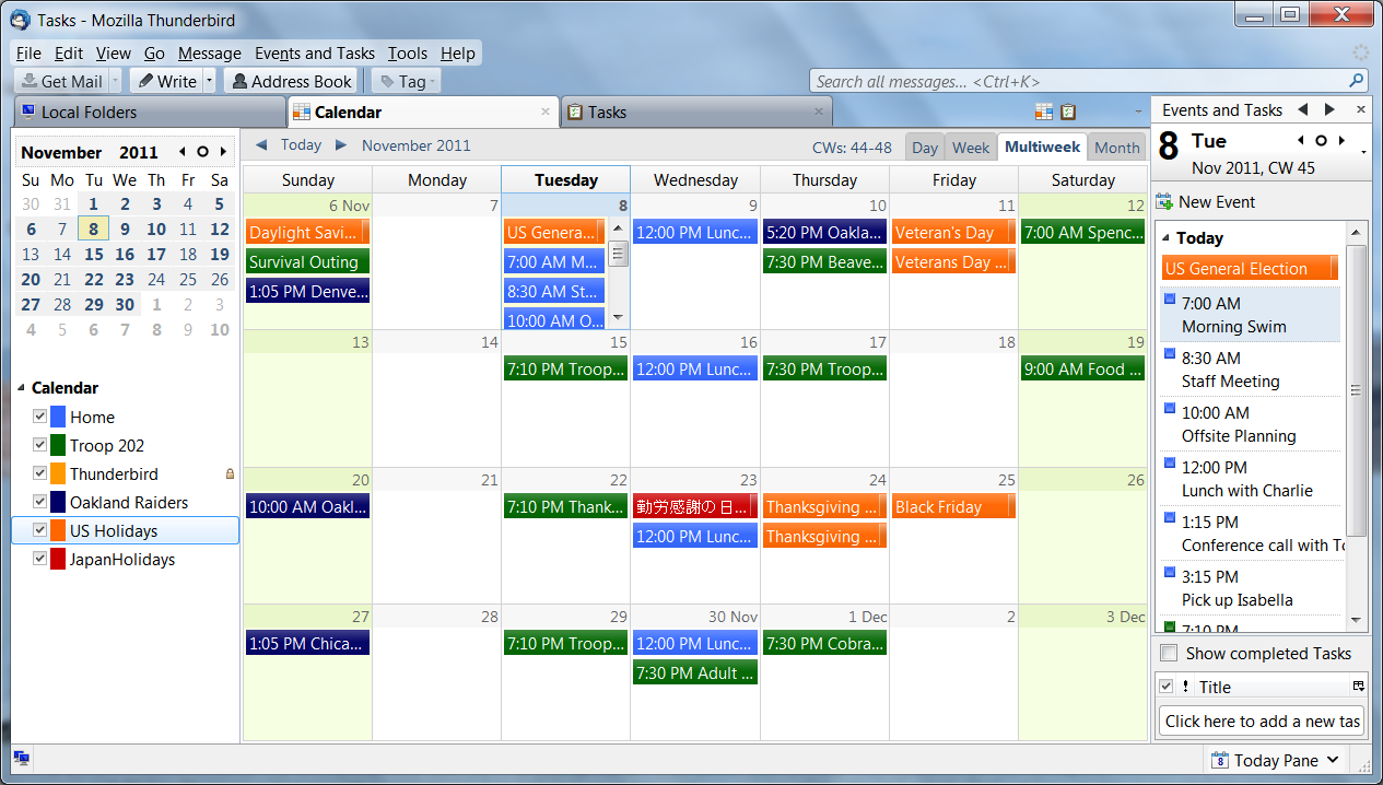 The Lightning calendar add-on, now released in version 1.0, brings a lot of new abilities to Mozilla's Thunderbird e-mail software.