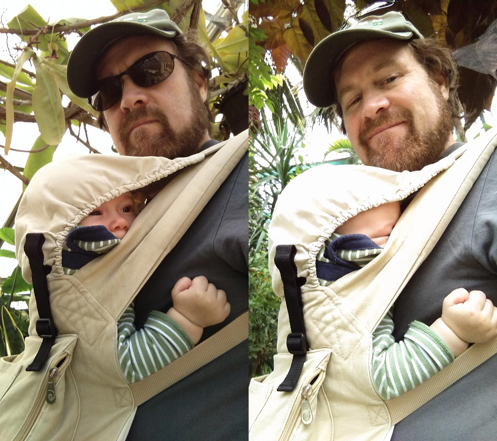 Back in the dark ages, parents on a walk with a baby lashed on didn't always know if the kid was asleep. But now, a phone's selfie-cam can answer that question. Left: no. Right: yes.