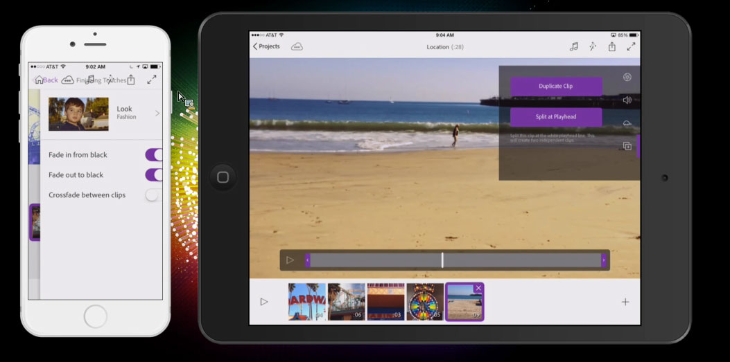Adobe's Premiere Clip brings video editing to iPhones and iPads.