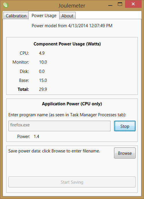 Joulemeter Application Power calculation