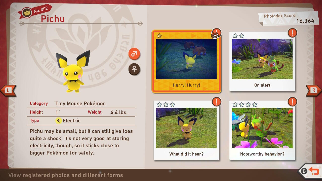 Photodex for Pichu in New Pokemon Snap