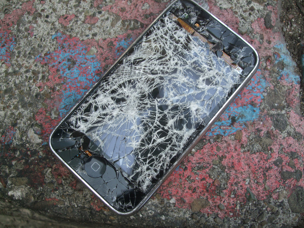 A cracked iPhone 3G.