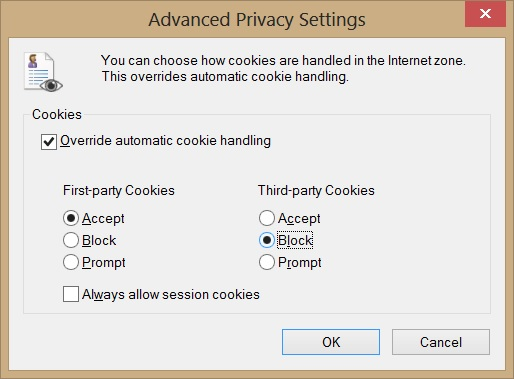 Internet Explorer Advanced Privacy Settings