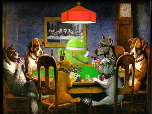 Here Droidy's been 'shopped into an oil painting from C.M Coolidge's famous 'Dogs Playing Poker' series. Bonus points to Marc Crane for squishing in the CNET team. Can you spot us?