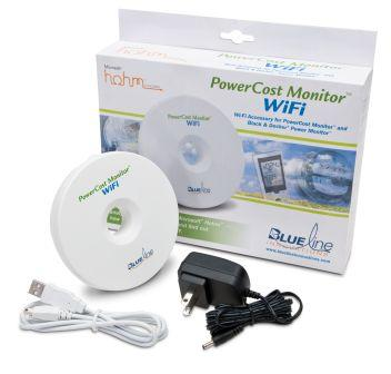 The PowerCost Monitor comes with an electricity meter sensor, energy display, and a WiFi Gateway to see meter data on the Web.