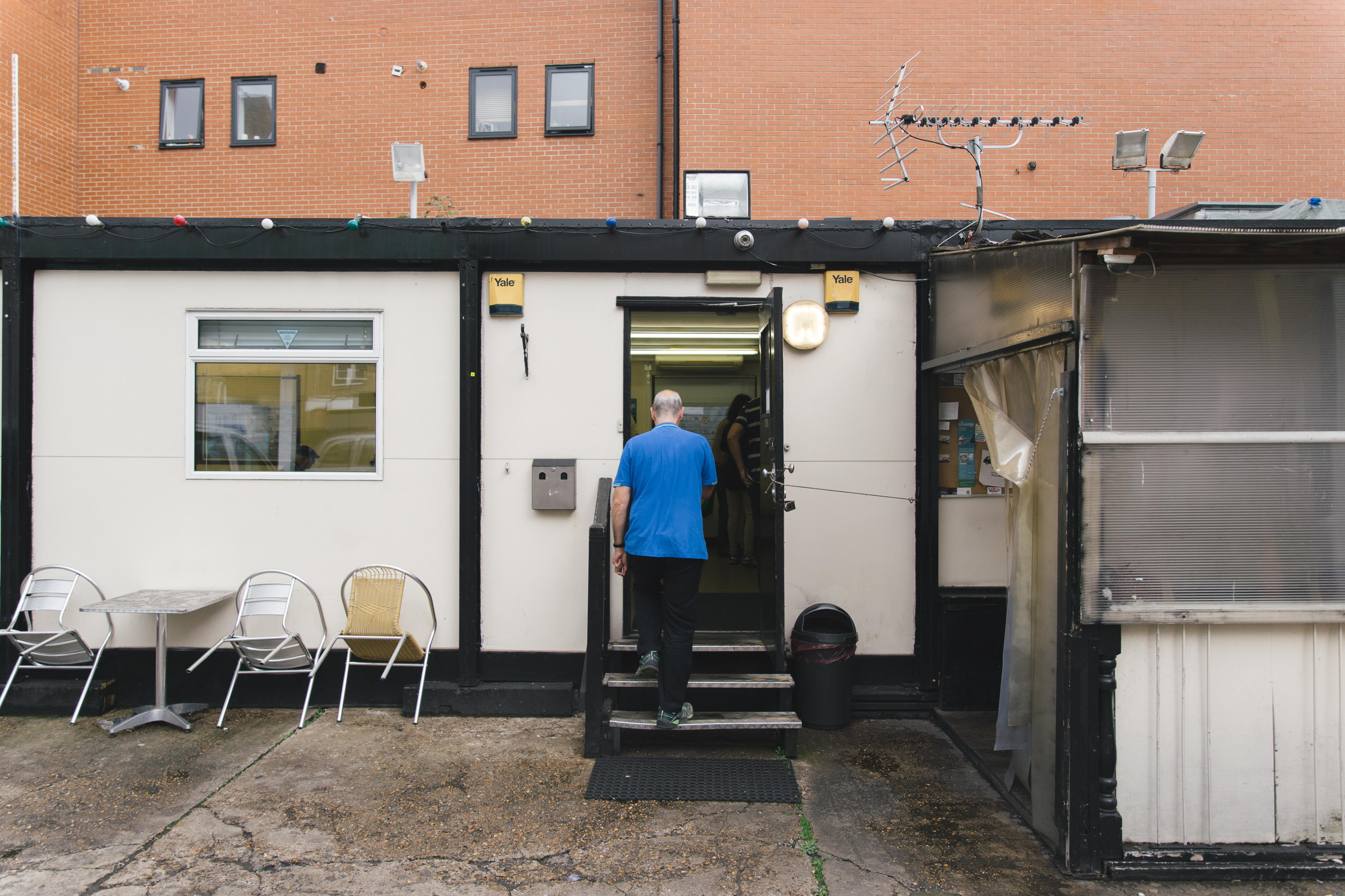 Housed in this static portacabin, the cafe serves as a community hub for the drivers, all of whom seemed to know each other. As we sat and talked with some cabbies, others would regularly call out as familiar faces entered the building.