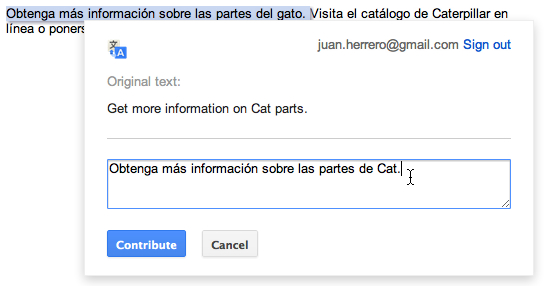 Google's new contribution function with Translate.