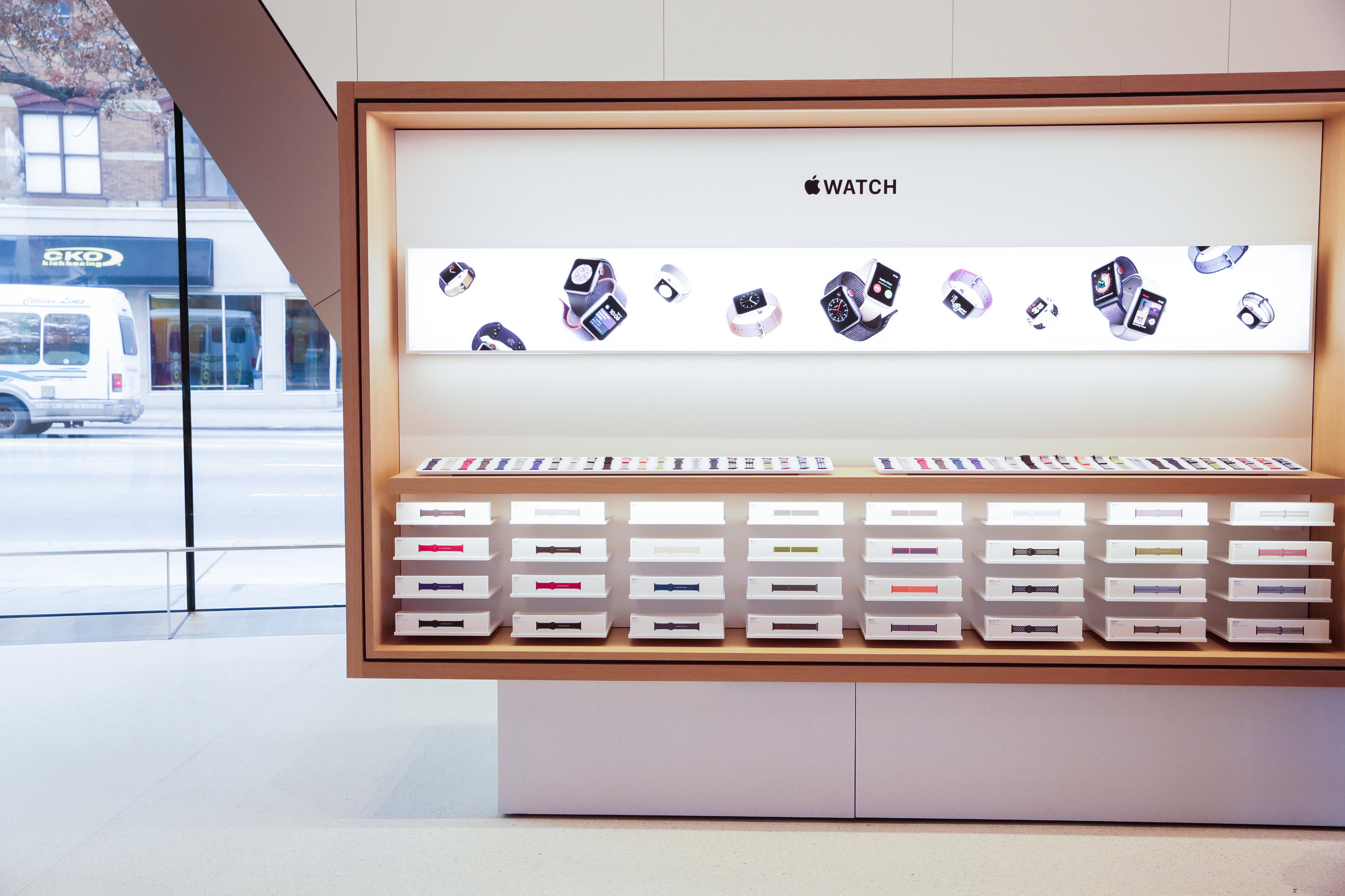 Shelves stocked with Apple Watches