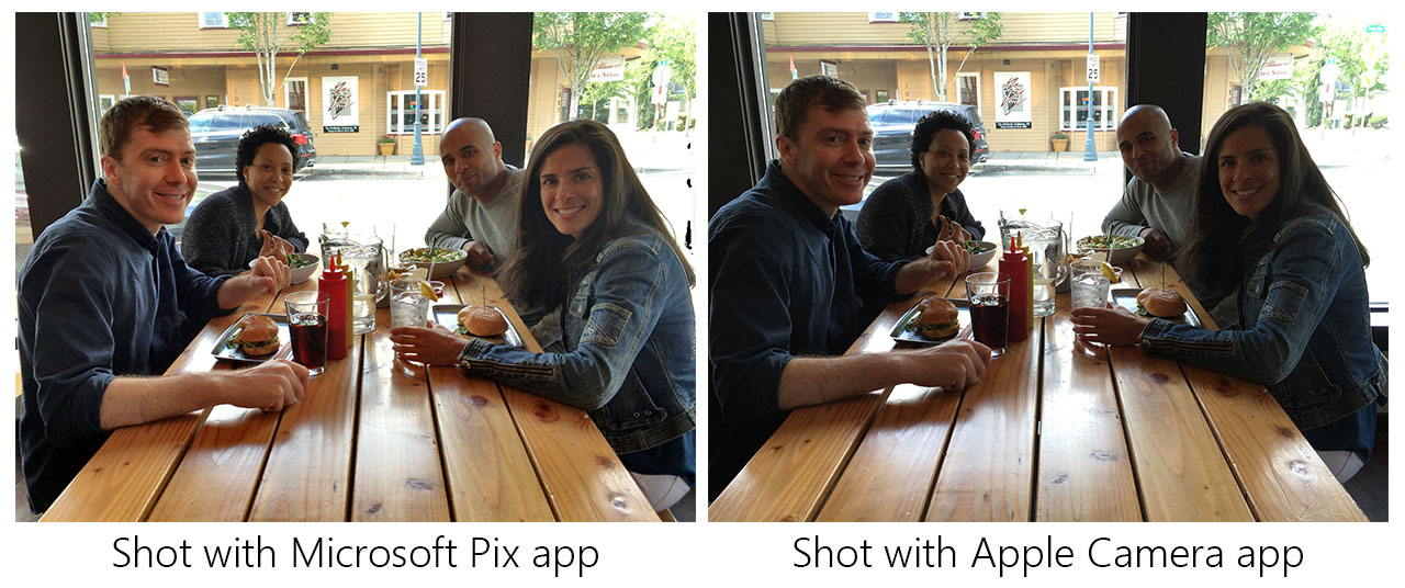 Microsoft says its Pix camera app photographs people better than Apple's camera app does.