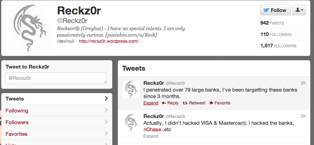 """Reckz0r publicizes the data dump on Twitter one week after announcing retirement from """"greyhat"""" hacking."""