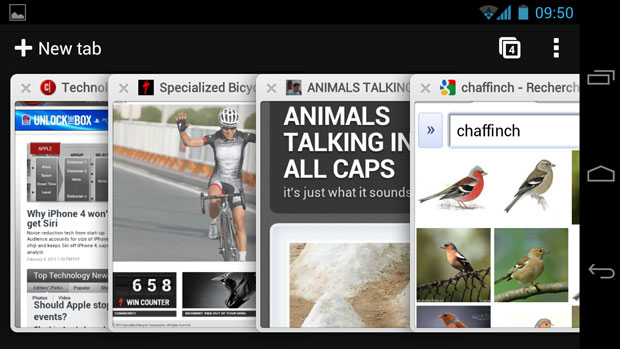 Chrome for Android overlays multiple tabs if you tap the tab button in the upper right.