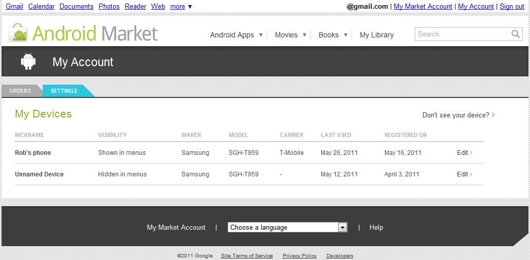 Android Market Account page