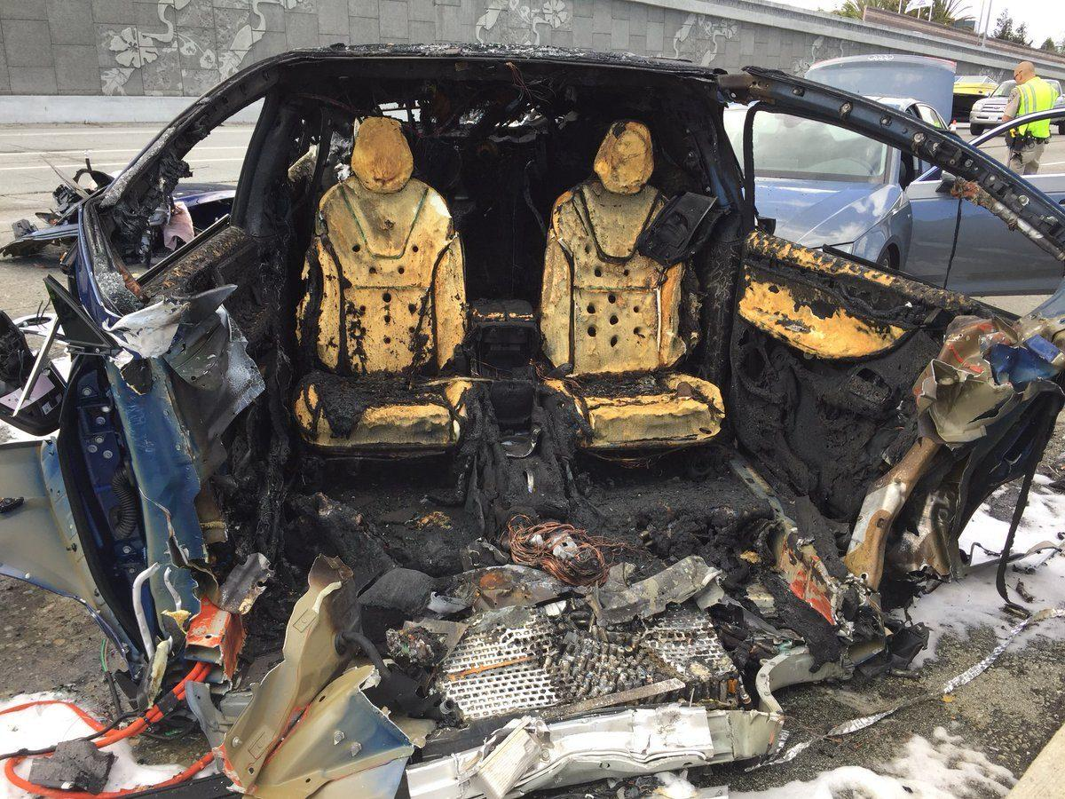 Remains of the charred Tesla Model X