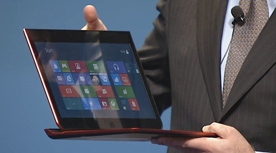 Intel showed off an 'internal concept'  hybrid laptop-tablet based on its Ivy Bridge processor at a conference in Beijing.  That chip will support Retina-class display resolutions, according to PC business chief Kirk Skaugen.