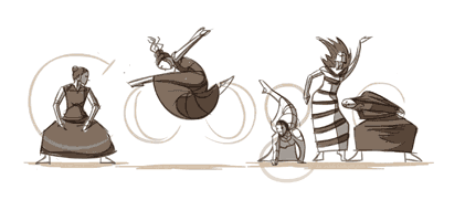 A screenshot of the Ryan Woodward's Martha Graham dynamic doodle after it's finished drawing the Google logo.