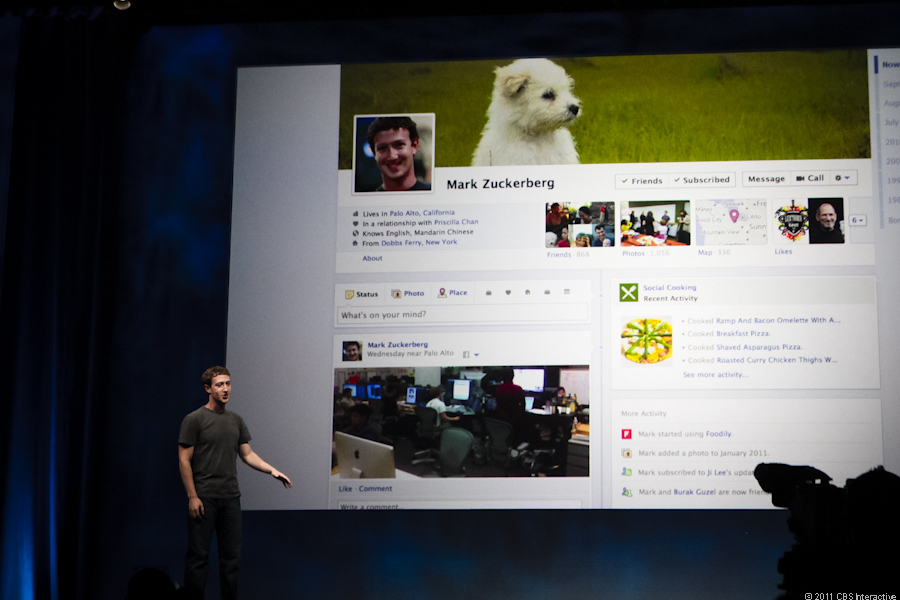 Mark Zuckerberg introduces Timeline at F8 2011.