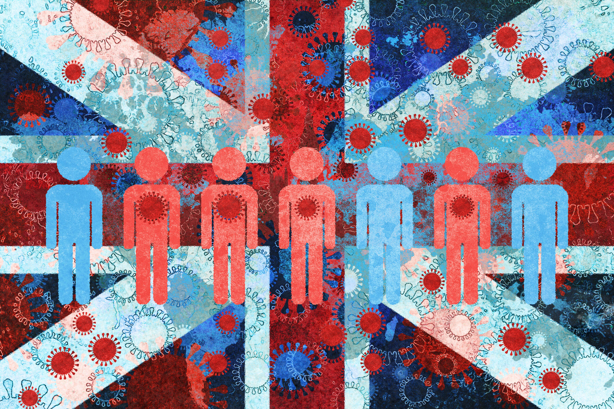 Illustration of the Union Jack and COVID-19 infection