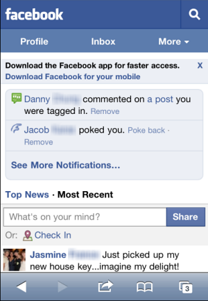 Facebook mobile site on iPhone