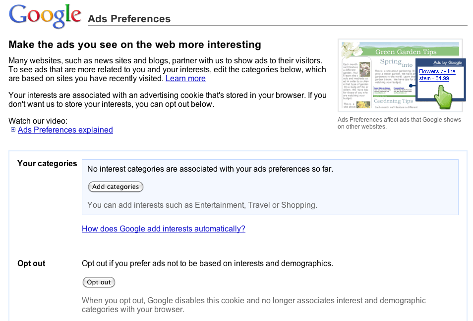 Google Ad Preferences Manager categories and opt-out options